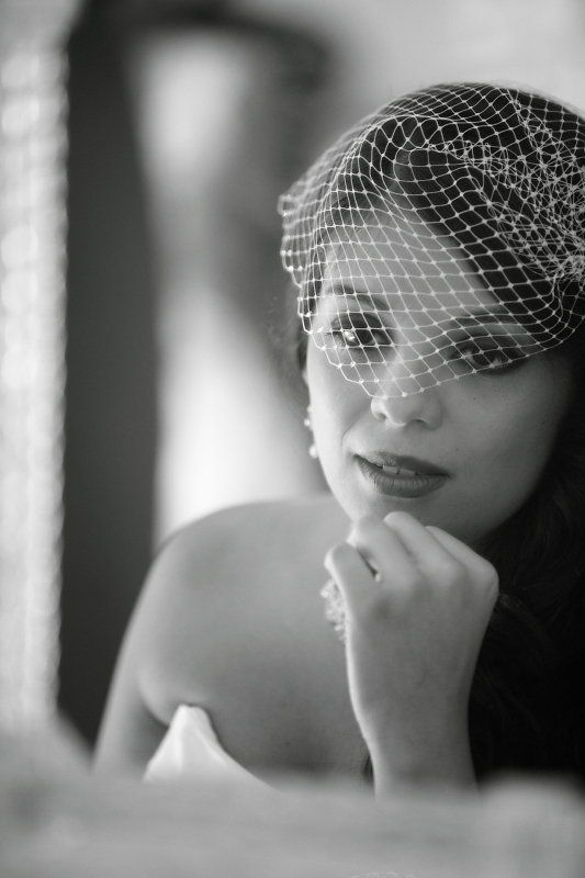 Beautiful Bride On Wedding Day In Black & White