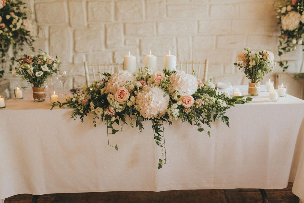 Sweetheart Top Table for bride & groom . Vintage mixed with classic barn wedding