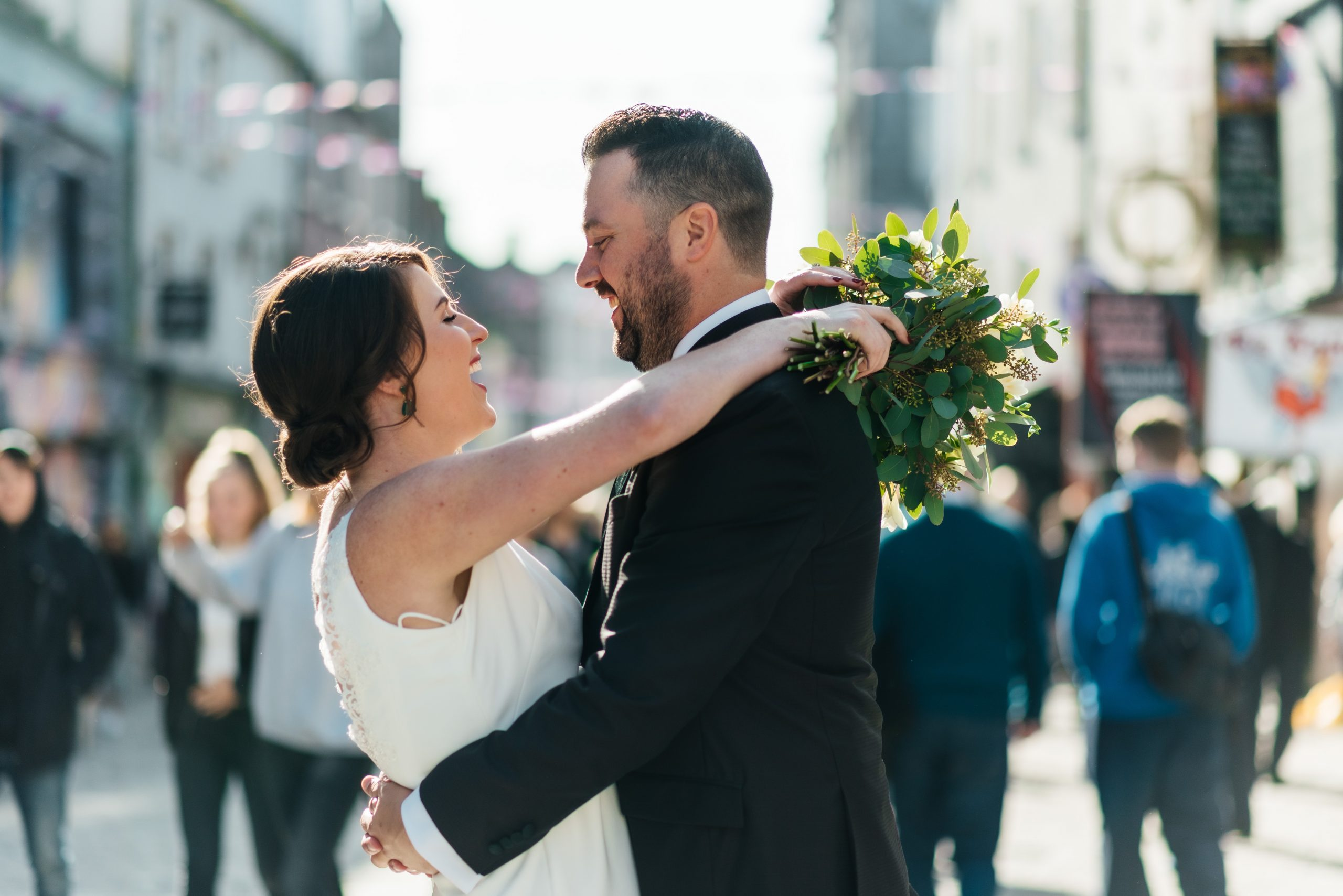 Bride & Groom during the Photoshoot on the streets of Galway City