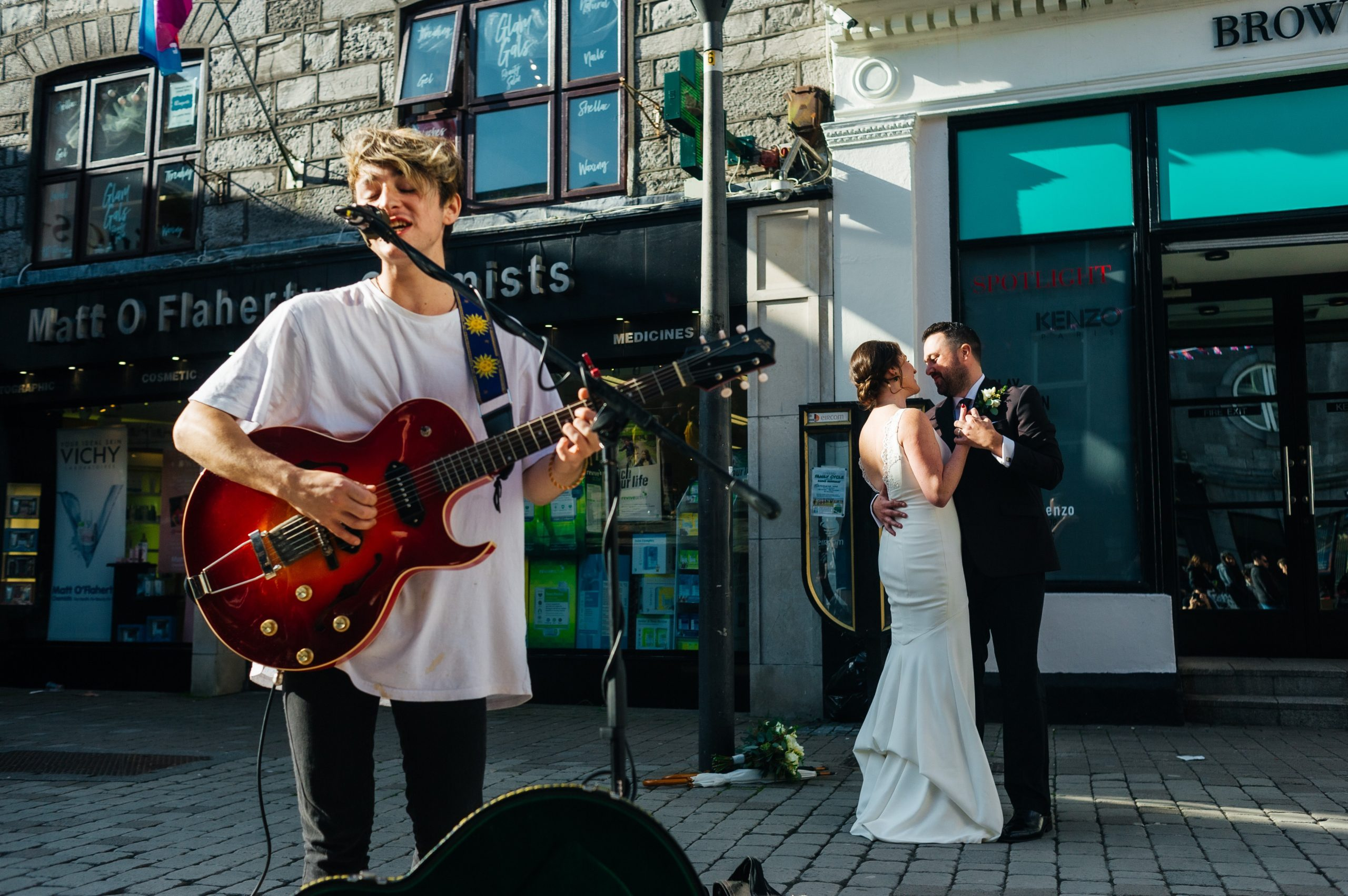 Couple dancing on the streets of Galway City