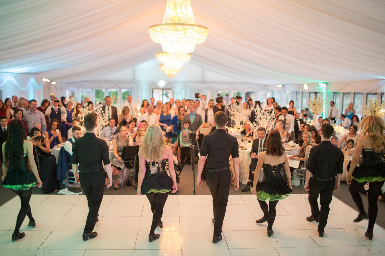 Irish dancers performing at a wedding