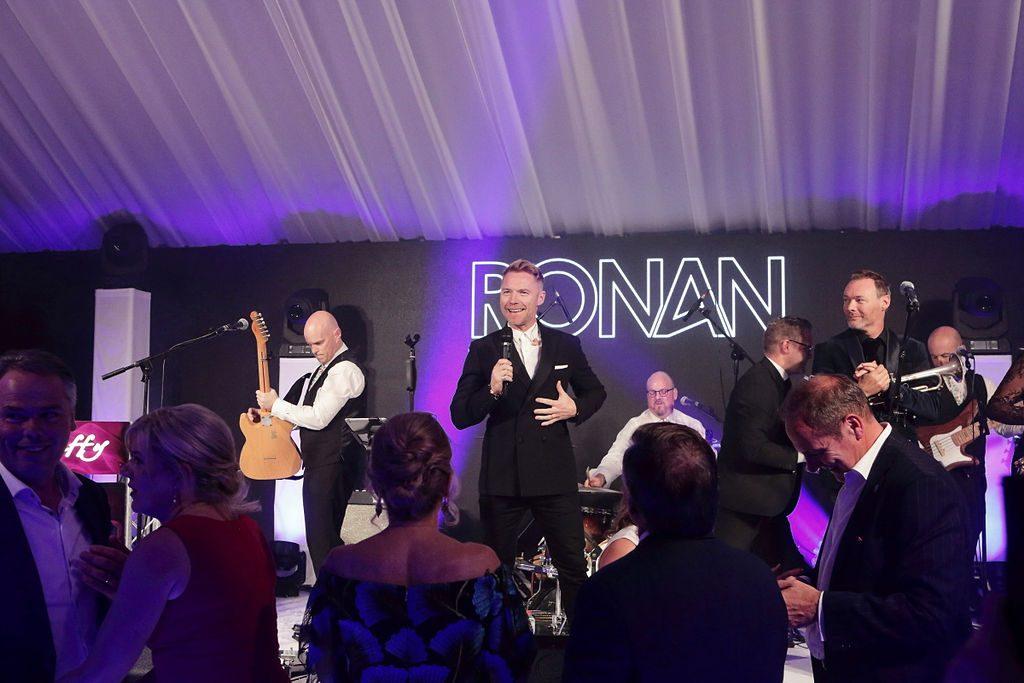 Ronan Keating performing at a wedding