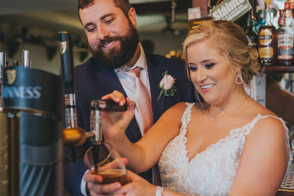 Couple pouring beer