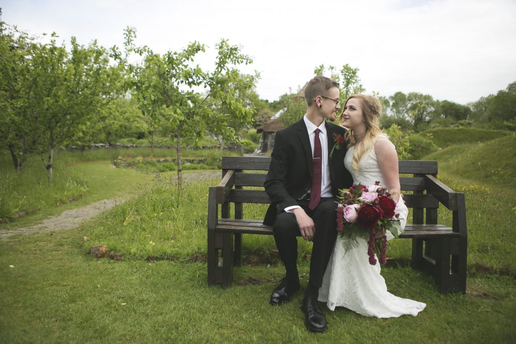 Bride & Groom on a banch